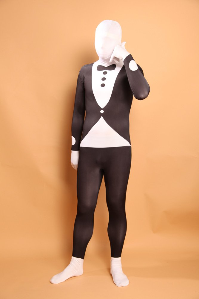 Black and White Halloween Bowtie Full Body Spandex Holiday Unisex Lycra Morph Zentai Suit