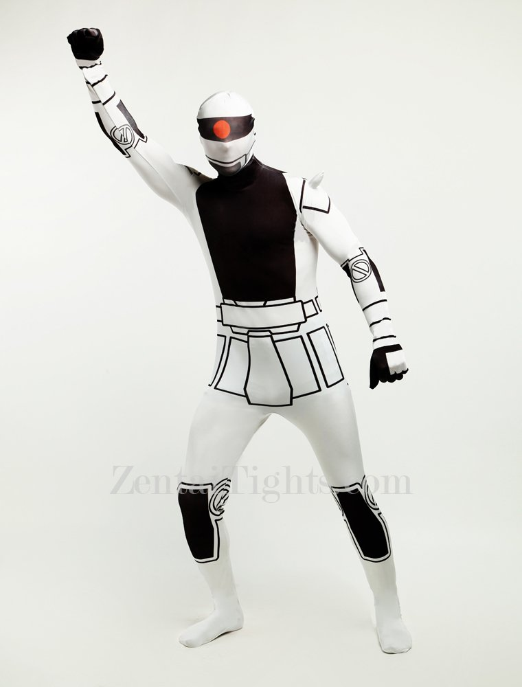 Black and White Robot Halloween Full Body Spandex Holiday Unisex Lycra Morph Zentai Suit