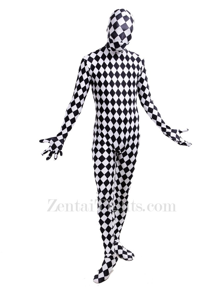 Classic Black and White Check Full Body Halloween Spandex Holiday Unisex Cosplay Zentai Suit