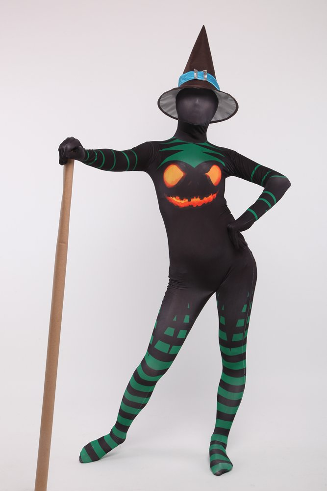 Halloween Witch Unisex Full Body Spandex Holiday Unisex Cosplay Zentai Suit