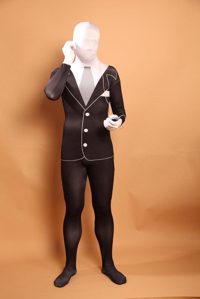 Men\'s Black and White Halloween Full Body Spandex Holiday Unisex Lycra Morph Zentai Suit