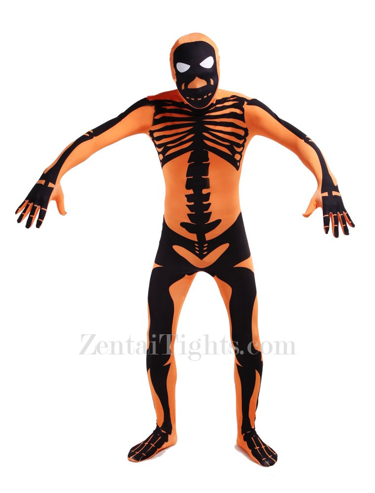 Orange Skull Full Body Halloween Spandex Holiday Unisex Cosplay Zentai Suit