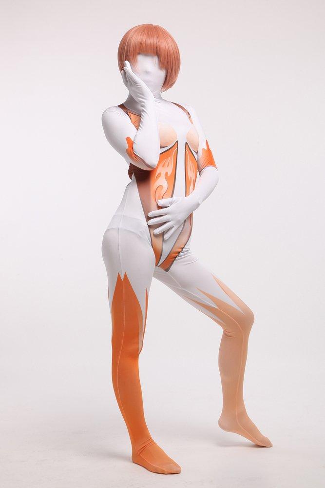 Orange and White Halloween Full Body Spandex Holiday Unisex Cosplay Zentai Suit