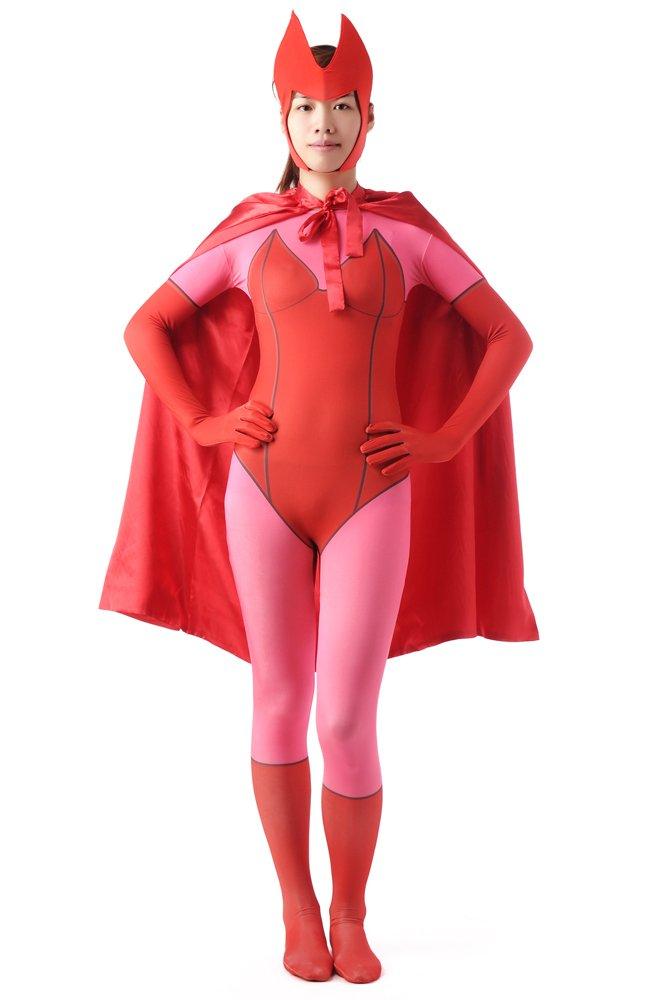 Red Halloween Super Hero Women Full Body Spandex Holiday Unisex Cosplay Zentai Suit