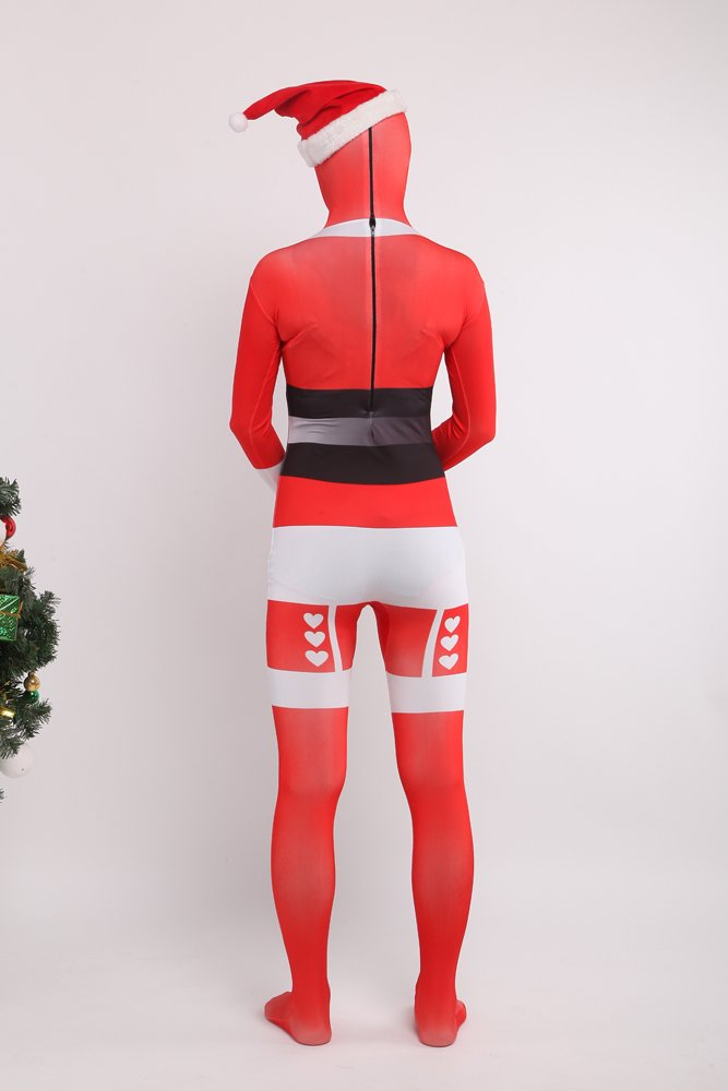 Red Sata Clause Full Body Spandex Holiday Unisex Cosplay Zentai Suit