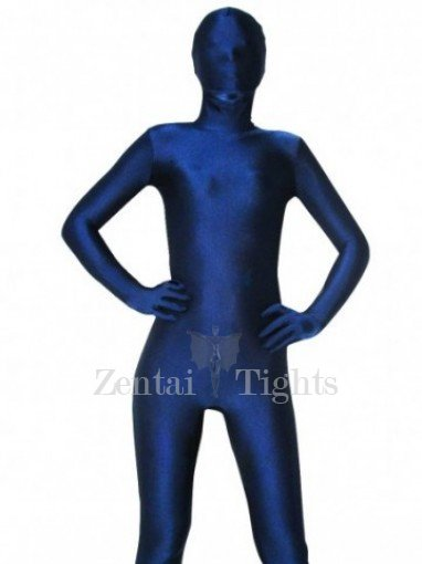 Unicolor Full Body Morph Suit Zentai Tights Dark Blue Spandex Morph Suit Zentai Suit