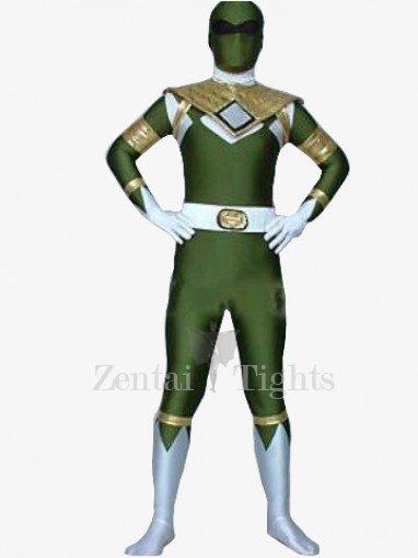 Green And White Shiny Metallic Morph Suit Zentai Suit