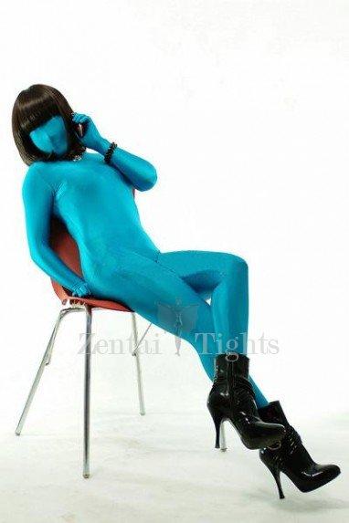 Blue Shiny Metallic Lycra Spandex Unisex  Morph Suit Zentai Suit