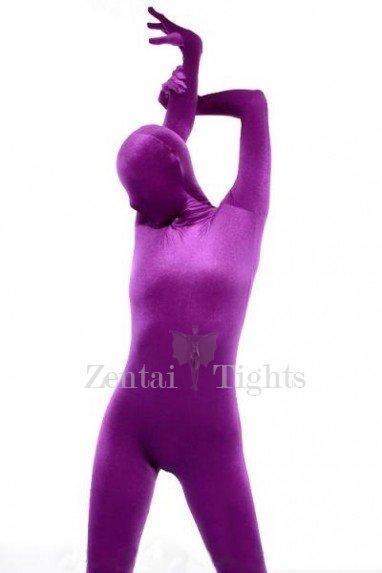 Purple Cotton Lycra Unisex Catsuit