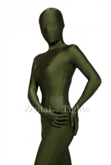 Unicolor Full Body Morph Suit Zentai Tights Army Green Lycra Spandex Morph Suit Zentai Suit
