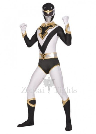 Black White Lycra Spandex Unisex  Morph Suit Zentai Suit