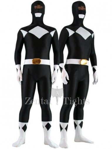 Black with White Lycra Spandex Unisex Morph Suit Zentai Suit