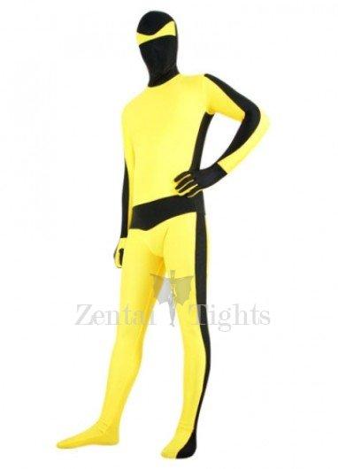 Black with Yellow Lycra Spandex Unisex Morph Suit Zentai Suit