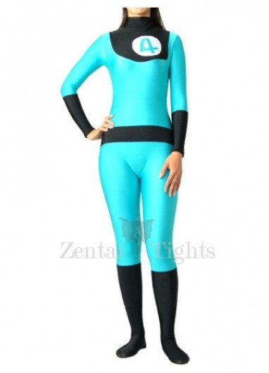 Fantastic 4 Blue And Black Lycra Spandex Unisex  Morph Suit Zentai Suit