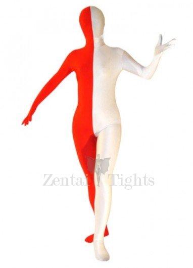 Half White Half Red  Lycra Spandex Unisex Morph Suit Zentai Suit
