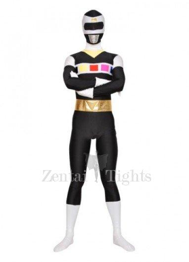 Black with White Unisex Lycra Morph Suit Zentai Suit
