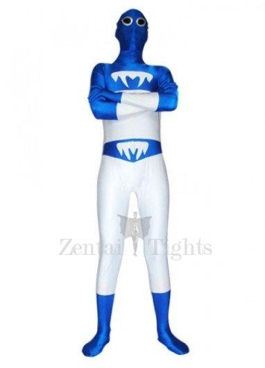 Blue and White Lycra Spandex  Unisex Morph Suit Zentai Suit