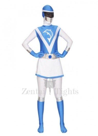 Blue and White Lycra Spandex Women Morph Suit Zentai Suit