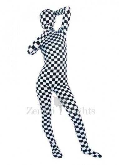 Superior Black And White Lycra Spandex Unisex Morph Suit Zentai Suit