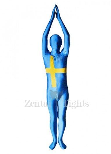 Sweden Flag Pattern Unisex Lycra Morph Suit Zentai Suit