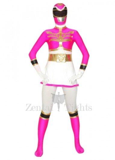 White And Rose Super Hero Lycra Morph Suit Zentai Suit