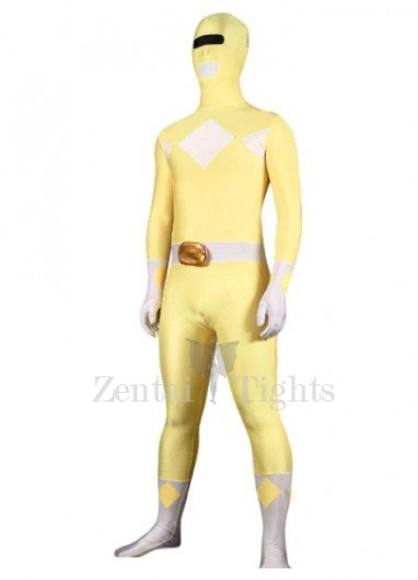 Yellow And White Lycra Spandex Super Hero Morph Suit Zentai Suit