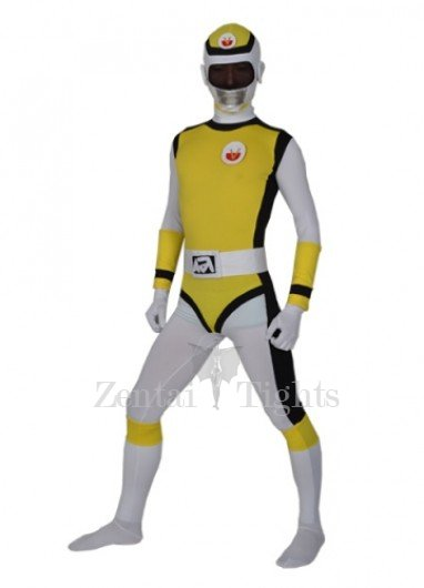 Yellow Lycra Spandex  Men\'s Morph Suit Zentai Suit