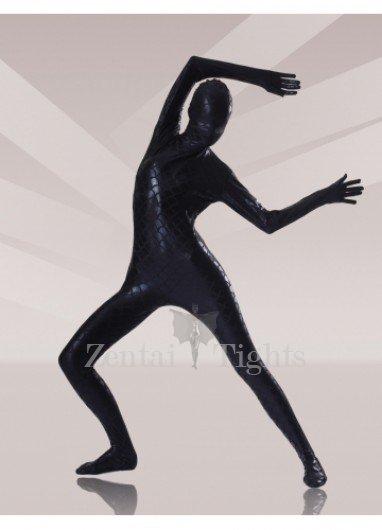 Black Fish Scale Shiny Metallic Morph Suit Zentai Suits