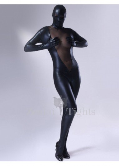 Black Shiny Metallic Lycra Female Morph Suit Zentai Suit