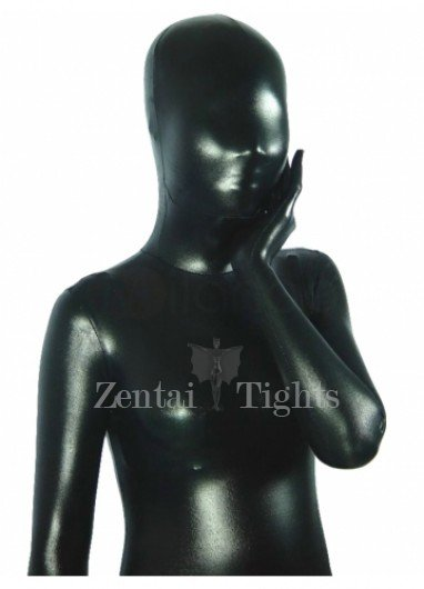 Black Shiny Metallic Unisex Morph Suit Zentai Suit