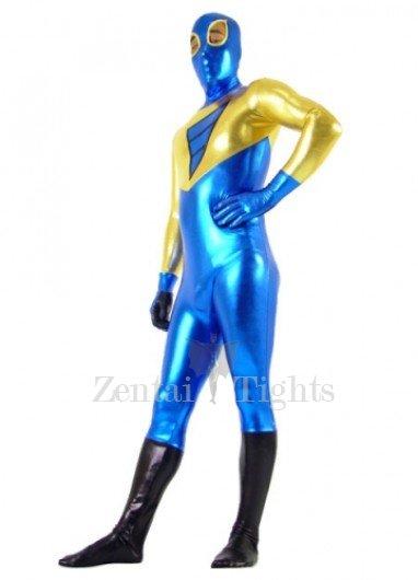 Gold And Blue Shiny Metallic Super Hero Morph Suit Zentai Suit