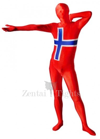 Pattern of Norwegian Flag Unisex Lycra Morph Suit Zentai Suit