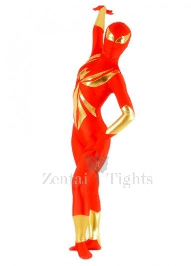 Red  And Gold Lycra Spandex Shiny Metallic Unisex Morph Suit Zentai Suit