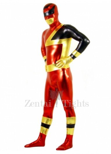 Red and Black Shiny Metallic  Super Hero Unisex Morph Suit Zentai Catsuit