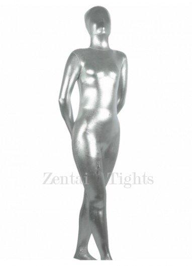Silvery Shiny Metallic Unisex Morph Suit Zentai Suit