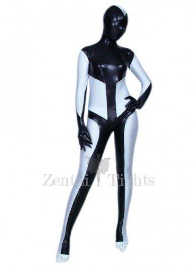 Black And White Shiny Metallic Unisex Morph Suit Zentai Suit