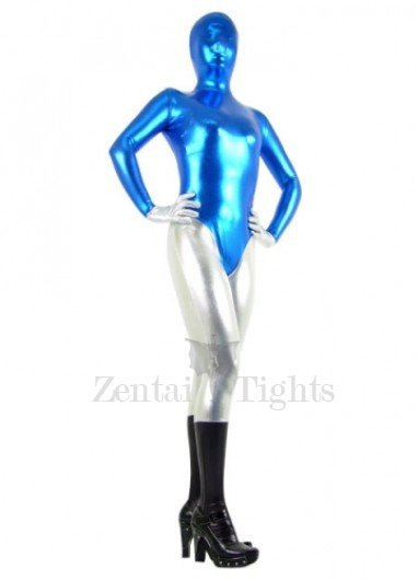 Blue And Silver Shiny Metallic Morph Suit Zentai Suit