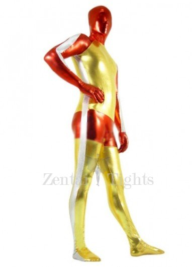 Gold And Red Shiny Metallic Morph Suit Zentai Suit