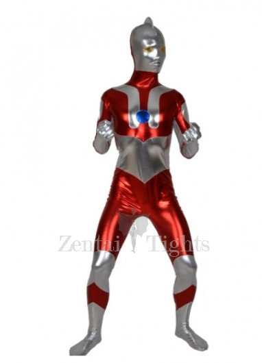 Red Gray Shiny Metallic Morph Suit Zentai Men\'s Suit