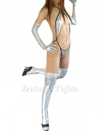 Classic Perfect Silver Shiny Metallic Sexy Costume