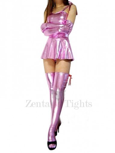 Ideal Superior Pink Shiny Metallic Sexy Dress