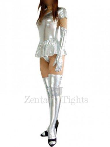 Silver Short Sleeves Shiny Metallic Sexy Dress