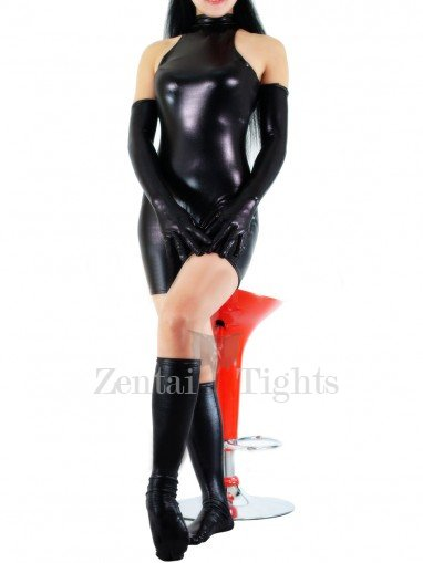 Suitable Black Shiny Metallic Half Length Sleeveless Unisex Catsuit