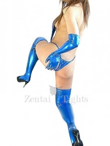 Top Blue Shiny Metallic Sexy Costume