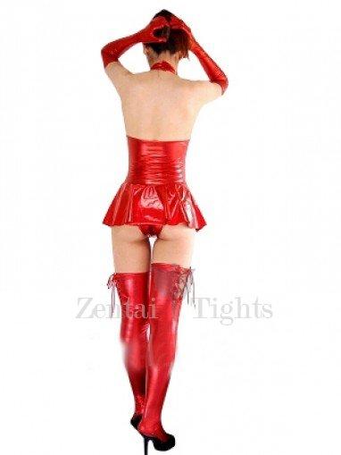 Top Red Shiny Metallic Sexy Dress