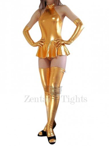 Unusual Cool Gold Shiny Metallic Sexy Dress