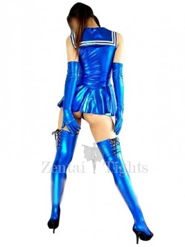 Blue Shiny Metallic Bowknot Mini Skirt Suit