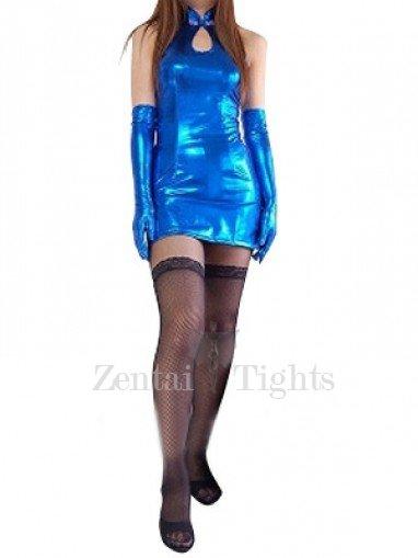 Blue Shiny Metallic Dress