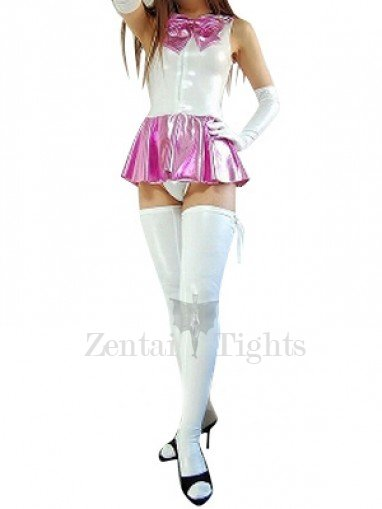 Cool Shiny Metallic Bowknot Mini Skirt Suit