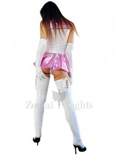Cool Shiny Metallic Bowknot Mini Skirt Suit
